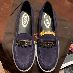 Tod's Navy Suede Loafer with Lug Sole